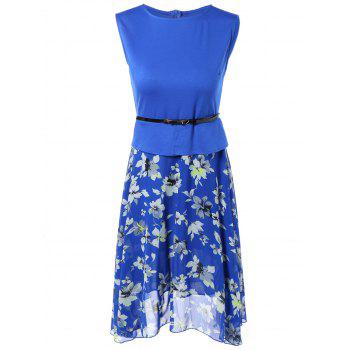 Sleeveless Spliced Floral Print Chiffon Peplum Dress