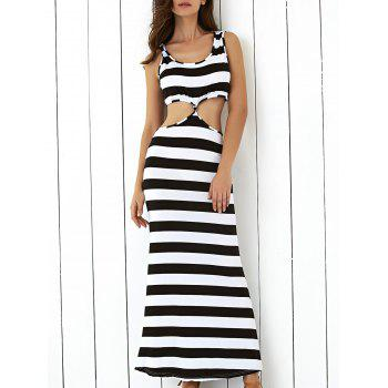 Cut Out Open-Back Striped Maxi Dress