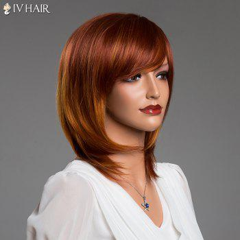 Double Color Medium Layered Tail Adduction Straight Side Bang Real Natural Hair Siv Wig - COLORMIX
