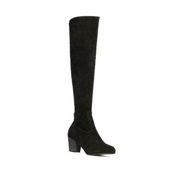 Chunky Heel Zipper Flock Thing High Boots