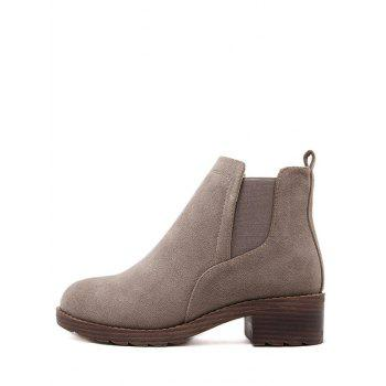 Round Toe Flock Elastic Band Ankle Boots - CAMEL 39