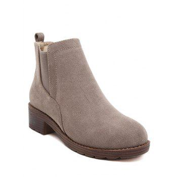 Round Toe Flock Elastic Band Ankle Boots