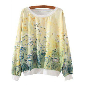 Ocean Of Flowers Print Loose Sweatshirt