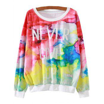 Letter Colorful Print Loose Sweatshirt