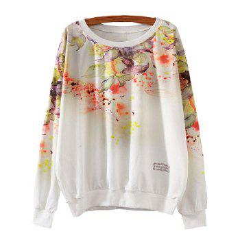 Flower Print Loose Sweatshirt