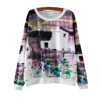 Ink Painting Lily Loose Sweatshirt