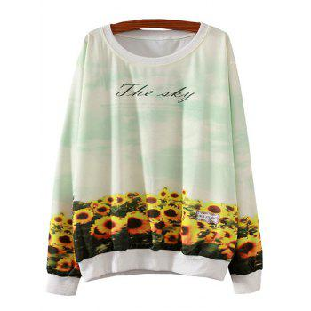 Sunflower Print Loose Sweatshirt