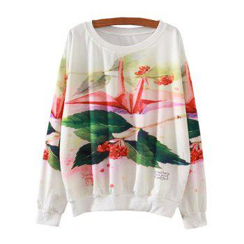 Colorful Paper Crane Print Loose Sweatshirt