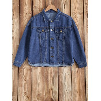 Buttoned Pocket Design Short Denim Jacket