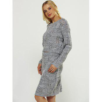 Cut Out High Waist Sweater Two Piece Dress - GRAY ONE SIZE