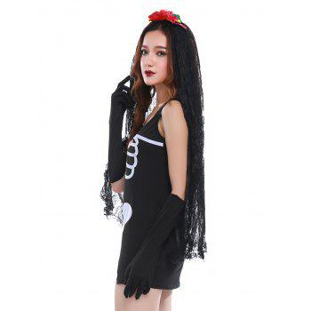 Skeleton Print Mini Bodycon Hallowmas Cosplay Costume - BLACK ONE SIZE(FIT SIZE XS TO M)