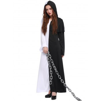 Hooded Color Block Maxi Hallowmas Dress - WHITE/BLACK WHITE/BLACK