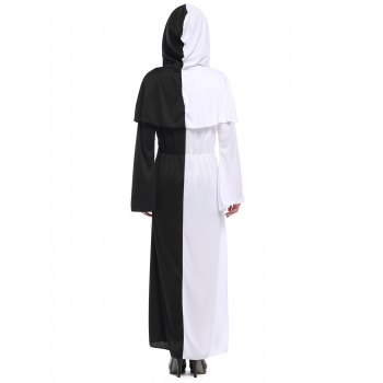 Hooded Color Block Maxi Hallowmas Dress - ONE SIZE(FIT SIZE XS TO M) ONE SIZE(FIT SIZE XS TO M)