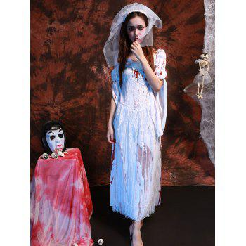 Blood Print Lace Splicing Hallowmas Cosplay Costume - WHITE WHITE