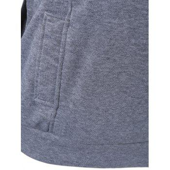 Pullover Hoodie with Zip Design - GRAY 2XL