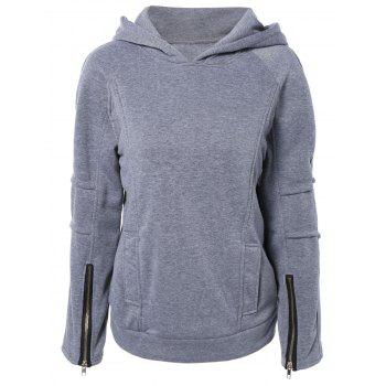 Pullover Hoodie with Zip Design