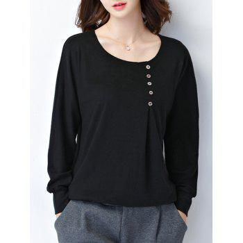 Plus Size Button Design Long Sleeve Tee - BLACK 2XL