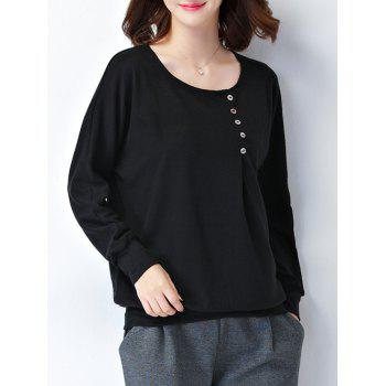 Plus Size Button Design Long Sleeve Tee - 2XL 2XL