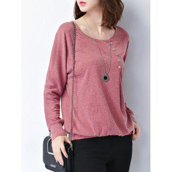 Plus Size Button Design Long Sleeve Tee - LIGHT RED LIGHT RED