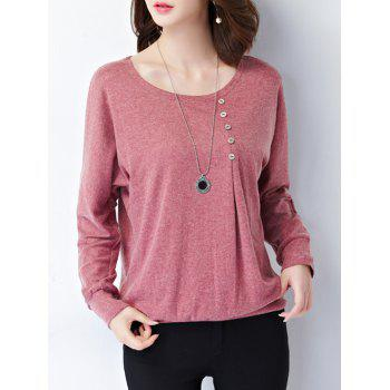 Plus Size Button Design Long Sleeve Tee - LIGHT RED 4XL