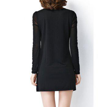 Plus Size Color Block See-Through Long Sleeve Mini Dress - BLACK 5XL