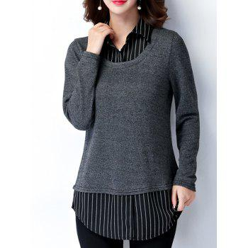 Plus Size Polo Striped Long Sleeve Blouse