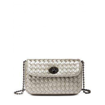 Chains Woven PU Leather Crossbody Bag