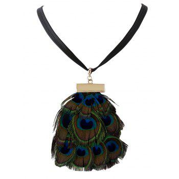 Faux Peacock Feather Pendant Necklace