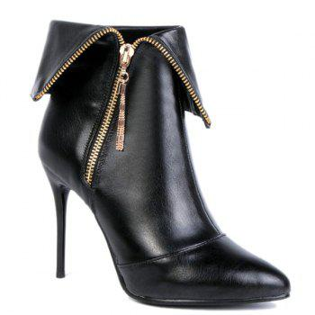 Metallic Zip Tassel Stiletto Heel Short Boots