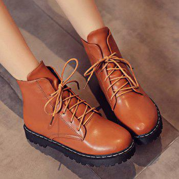 Flat Heel Lace-Up Combat Boots - BROWN 39