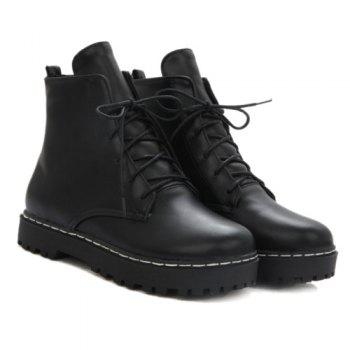 Flat Heel Lace-Up Combat Boots