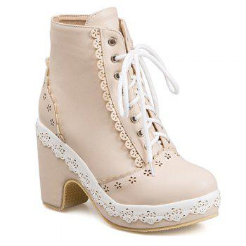 Chunky Heel Floral Engraving Lace-Up Short Boots