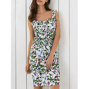 Floral Printed Sleeveless Button Up Sheath Dress