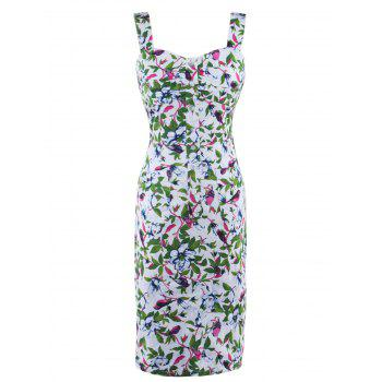 Button Up Floral Print Tea Length Bodycon Dress