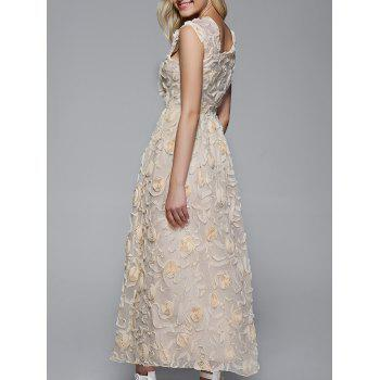 Long Floral Semi Formal Prom Party Dress