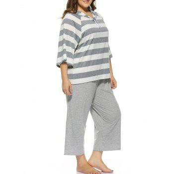 Plus Size Striped Hooded T-Shirt + Capri Wide Leg Pants