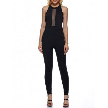 Mesh Trim Open Back Summer Halter Jumpsuit - BLACK BLACK