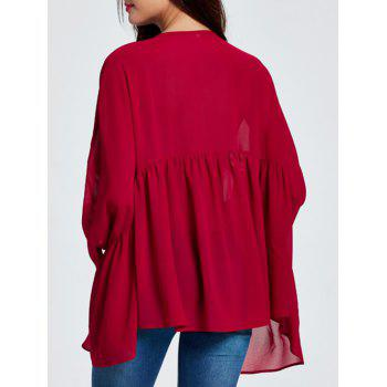 Asymmetric Ruched Smock Blouse - 2XL 2XL