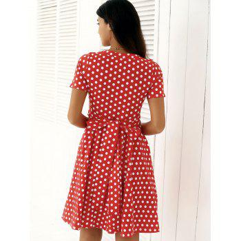 Vintage Single Breasted Polka Dot Print Dress - XL XL