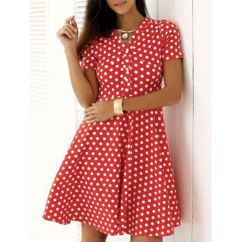 Vintage Single Breasted Polka Dot Print Dress - RED XL