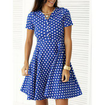 Vintage Single Breasted Polka Dot Print Dress