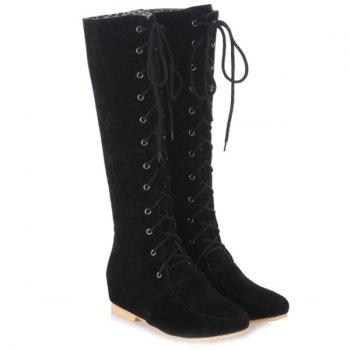 Lace-Up Suede Increased Internal Knee High Boots - BLACK BLACK