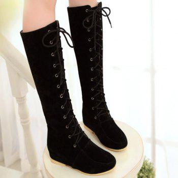 Lace-Up Suede Increased Internal Knee High Boots - 37 37