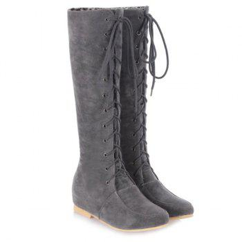 Lace-Up Suede Increased Internal Knee High Boots