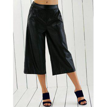 PU Leather Wide Leg Capri Pants