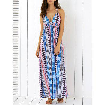 Geometric Print Bohemian Halter Backless Maxi Dress