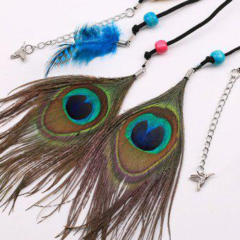 Southeast Asia Style Peacock Feather Pendant Waist Rope - BLACK