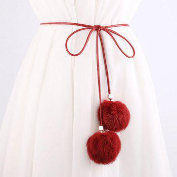 Dress Match Double Fuzzy Balls Pendant Waist Rope