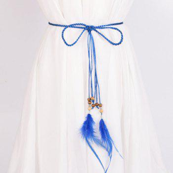 Dress Match Feather and Bead Pendant Waist Rope