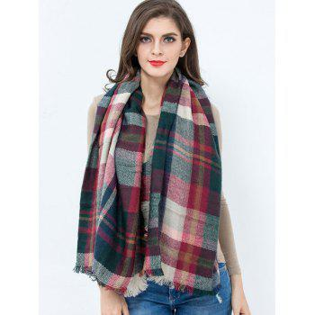 Casual Plaid Pattern Fringed Edge Square Scarf